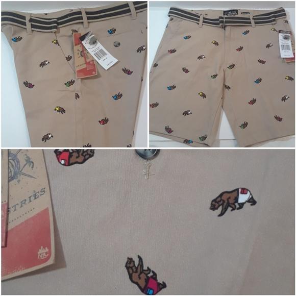 c0a20d4f6d Raw Yarn Shorts | Khaki Stretch Twill Bear Printed | Poshmark